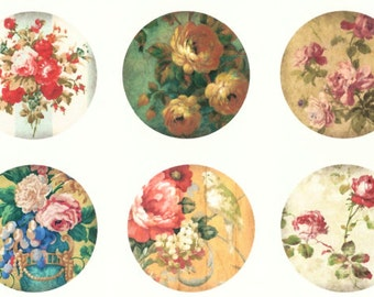 Stickers, Vintage Style, Flowers, Sticker Seals, Roses,  Set of 18