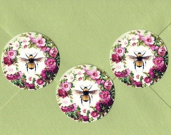 Stickers, Floral Bee, Flower Wreath, Bee, Cottage Style, Sticker Seals, Bee Stickers