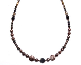 Black Beaded Necklace, Black Glass Necklace, Copper Filigree, Fresh Water Pearl, Beaded Necklace