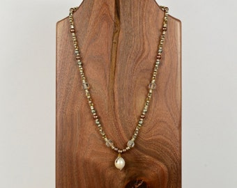Bronze, Smoke and Pearls Collection, Beaded Glass and Pearls, Vintage Pearls Necklace, cbwsn127