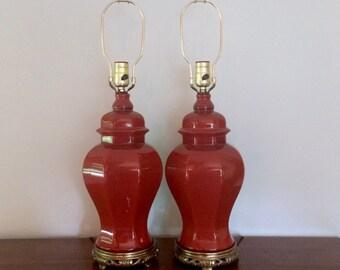 PAIR Chinoiserie Orange Red Burnt Sienna Ceramic Lamps, Hollywood Regency, Ginger Jar