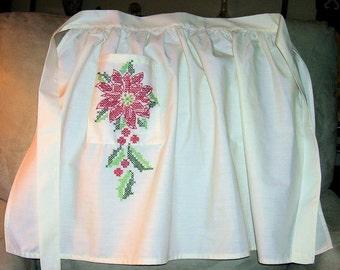 Poinsettia Hostess Apron, Hand Embroidered Cross Stitch