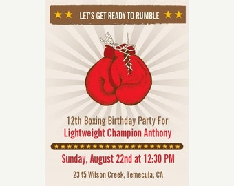 On Sale Boxing Gloves - Printable Birthday Party Invitation