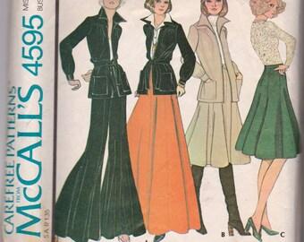 Vintage 1975 McCalls 4595 Misses Jacket, Tango Skirt, and Pants Size 14