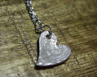 sterling silver textured lace steampunk artisan heart pendant, bridesmaid gift