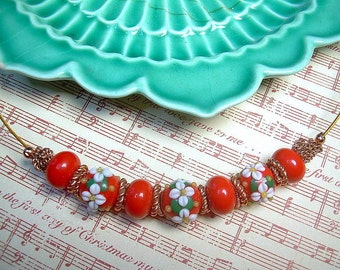 Artisan Lampwork Christmas Flower Necklace Red And Green With Copper Wire
