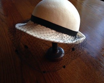 Off-White/ Cream Wool Bowler Hat with Black Lace Veil