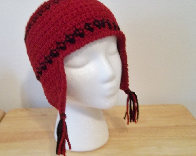 Headband - Crochet Headband with Earflaps for Winter Times  - Red with Black Stripes