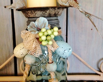 Antique Farmhouse Mason Jar Candle Holder