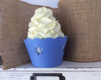 Blue Cupcake Wrappers Blue and White Daisy  SALE