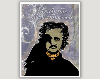 Edgar Allan Poe, The Raven quote, Merely This And Nothing More, pastel goth art, goth wall art, macabre art, library art, bibliophile gift