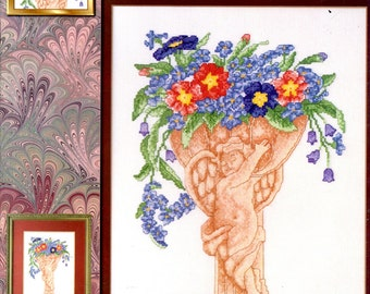 Blooming Cherubs Counted Cross Stitch Embroidery Winged Angel Vases Flowers Posies Red and Blue Forget Me Nots Craft Pattern Leaflet 03-118L