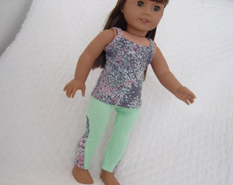 "Key Lime Pie Tank Top and Green Lola Leggings for American Girl or Other 18"" Doll"