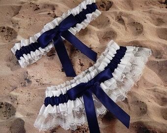 Navy Blue Ribbon White Lace Bridal Wedding Garter Toss Set