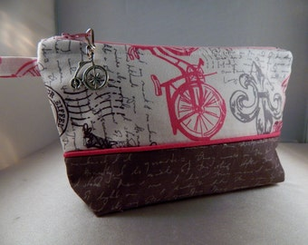 Paris Print Gray Lettering Bicycle Ready to Ship Makeup Cosmetic Organizer Bag
