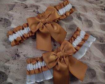 Gold White Satin White Organza Ribbon Wedding Bridal Garter Toss Set