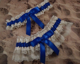 Royal Blue Ribbon Ivory Lace Bridal Wedding Garter Toss Set