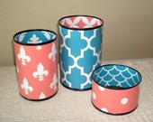 Coral and Teal Tin Can Desk Accessories, Fleur De Lis Pencil Holder, Polka Dot Pencil Cup, Desk Organization, Office Decor Dorm Decor 754