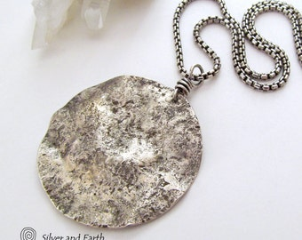 Silver Moon Necklace, Sterling Silver Pendant, Celestial Jewelry, Oxidized Sterling Silver, Hammered Silver Necklace on Chain, Lunar Jewelry