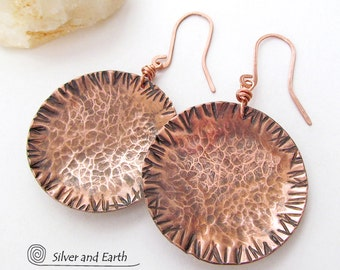 Large Copper Earrings Round Dangle Hammered Metal Earrings Artisan Handmade Earthy Natural Tribal Rustic Jewelry 7th Copper Anniversary Gift