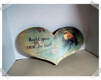 Wooden Heart Sign w/ Bird on a Branch Design/ Recycled/Home Decor*