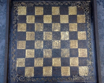 Vintage Tray made into chess or checker board by Antonette Cely