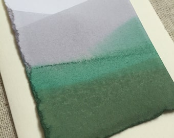 Green dip dyed cotton landscape blank greeting card