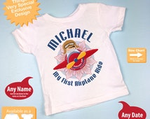Boy's Personalized My First Airplane Ride Shirt or Onesie Personalized with childs name and date (08282014e)