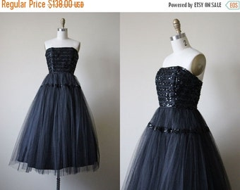 ON SALE 1950s Dress - Vintage 50s Dress - Black Tulle Sequin Strapless Party Prom Dress S - In a Deep Dark Wood Dress