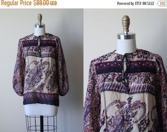 ON SALE Vintage Indian Cotton Top - 1970s India Festival Tunic Gauze Cotton Blouse Ink Blue and Ecru w Beaded Ties M - Deadstock