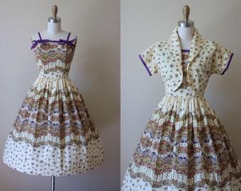 50s Dress - Vintage 1950s Dress - Superb Olive Purple Border Print Floral Sundress w Bolero S M - Harvest's End Dress