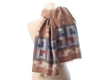 Aztec Blanket Scarf 90s GEO Print Soft COTTON Scarf Vintage Colorblock  Beige Grey Rustic Shawl Muffle Fringed Neck Wrap Urban Gift Idea