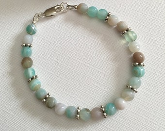 Bracelet-Dyed Agate Round Beaded-Milky Aqua Blue-Beach Jewelry-Lobster Clasp-Ocean Blues-Simple-Minimalist-Simplistic-Size