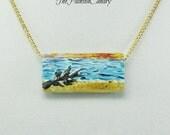 Driftwood on Beach, Hand-Painted Necklace, Original Painting on Wood,  Art Pendant, TPC original design