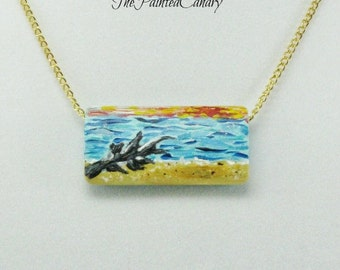 Driftwood on Beach, Hand-Painted Necklace, Original Painting on Wood,  Art Pendant, TPC original design
