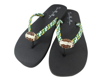 Packers Football Flip Flops Colors - any team ribbons- Bling Football Sandals Shoes for Ladies and girls