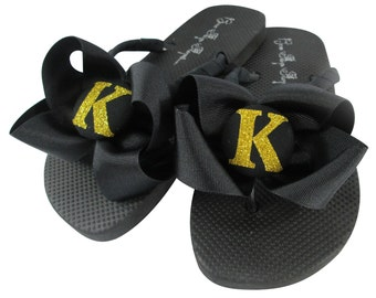 Gold Glitter Black Bling Flip Flops, Bridesmaid Flip Flops with Bows, custom wedding colors - wedge or flat with personalized initial