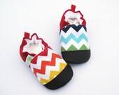 SALE Classic Vegan Rainbow Chevron / Non-Slip Soft Sole Baby Shoes / Made to Order / Babies Toddler Preschool