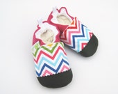 SALE Classic Vegan Pink Rainbow Chevron / Non-Slip Soft Sole Baby Shoes / Made to Order / Babies Toddler Preschool