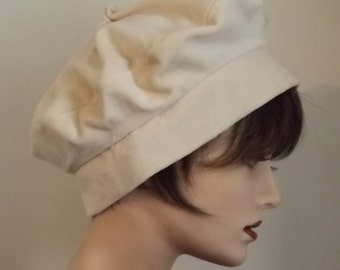 Ladies Cream Velvet Cloche Hat