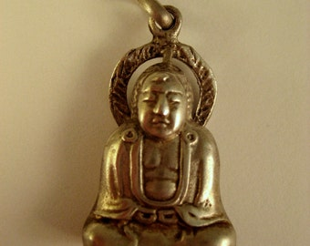 Vintage sterling silver Buddha pendant. Meditation. Prayer. Sitting