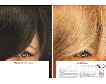 "1966 Clairol Vintage Ad, 1960's Hair Color, 1960's Beauty, Retro Beauty, ""Born Blonde"", Advertising Art, 1960's Hair Style, Great to Frame."