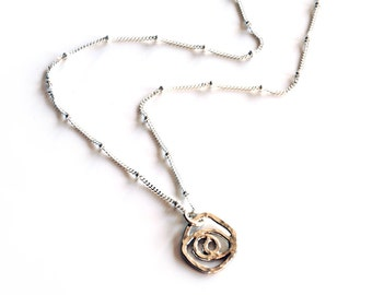 Small swirl rose pendant with hammer texture and sparkly chain , sterling silver rose necklace , handmade silver spiral pendant