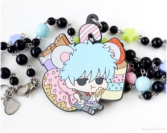 Gintoki Sakata Beaded Necklace, Anime Necklace, Pastel Goth, Kawaii Necklace, Anime Jewellery, Kawaii Jewellery, OOAK