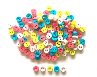 100 Pcs Tiny Button, Micro Button 2hole for crafts findings accessories  6 mm