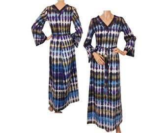 Vintage 1960s Boho Hippie Dress Tie Dye - Maxi Dress - S