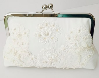 BRIDES HEIRLOOM CLUTCH, Keepsake, made from Moms wedding dress