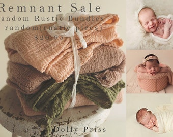 Newborn Wrap - Cheesecloth Wrap - Remnant Rustic Bundle - SALE - 3 Piece Package - Baby Wrap -