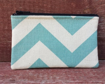 Mini Zipper Pouch Aqua Chevron Handmade in Iowa