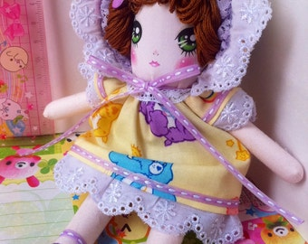 Care Bears Yellow Dress Bunka Doll- Retro Japanese Folk Doll
